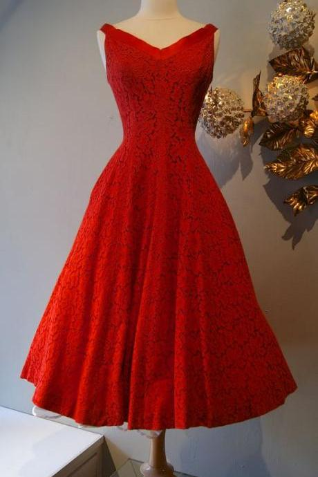 1950S Vintage Prom Dress, Red Prom Gowns, Mini Short Homecoming Dress, Lace Homecoming Gowns