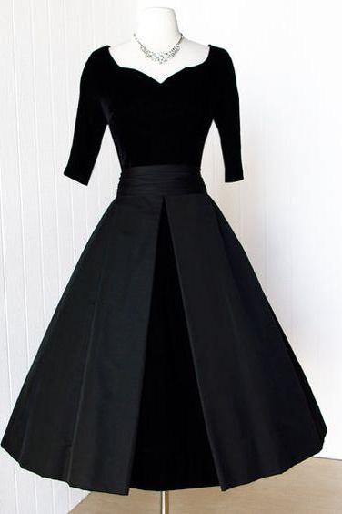 1950S Vintage Prom Dress, Black Velvet Prom Gowns, Homecoming Dress