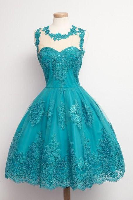 1950S Vintage Prom Dress, Green Prom Gowns, Mini Short Homecoming Dress, Lace Homecoming gown