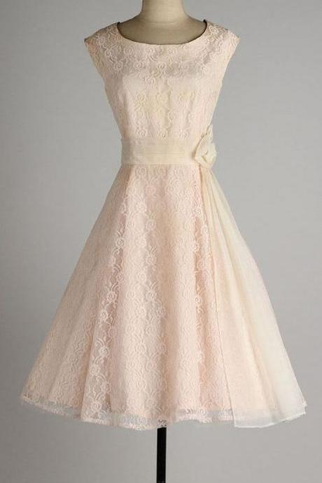 1950S Vintage Prom Dress, Lace Prom Gowns, Mini Short Homecoming Dress