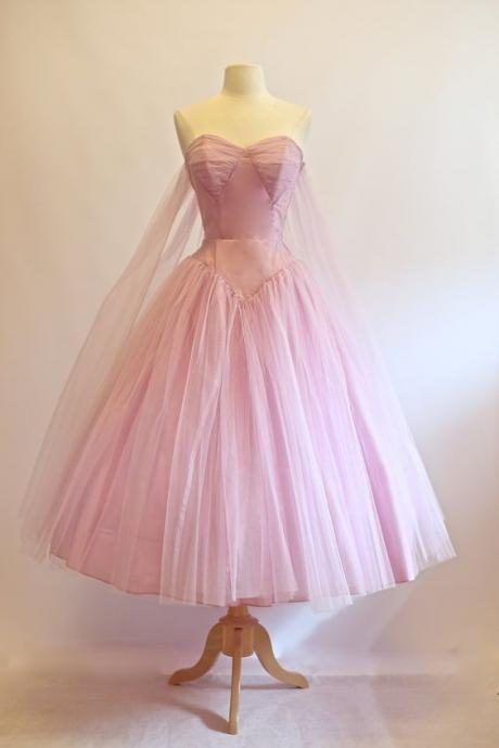 1950S Vintage Prom Dress, Purple Prom Gowns, Organza Homecoming Dress