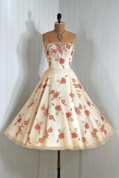 Vintage Floral A-line Tea-length Evening Dress with Sweetheart Neckline