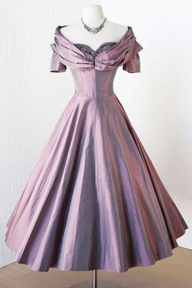 1950S Vintage Prom Dress, Light Purple Prom Gown