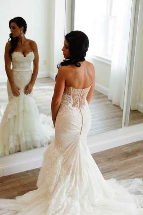 Sweetheart Mermaid Tiered Lace Wedding Dress Ruched with Sweep Train