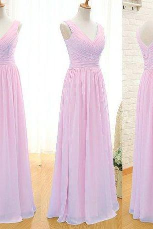 Pink Bridesmaid Dress,Floor-Length Bridesmaid Dress,Chiffon Bridesmaid Dress,Cheap Bridesmaid Dress