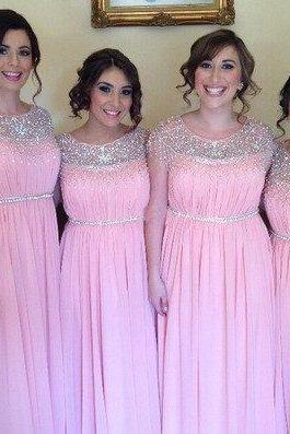 Custom Made Pink Crystal Embellished Tulle Empire Waistline Long Evening Dress, Bridesmaid Dress, Prom Dresses, Cocktail Dress, Weddings