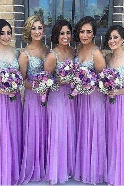 Custom Made Purple Sequin Embellished Sleeveless Long A-Line Chiffon Evening Dress, Bridesmaid Dress, Prom Dresses, Cocktail Dress