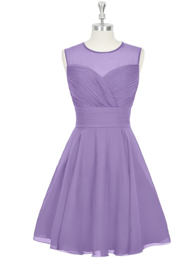 Custom Made Lavender Ruched Illusion Neckline Short Chiffon Evening Dress, Bridesmaid Dress, Homecoming Dresses, Cocktail Dress