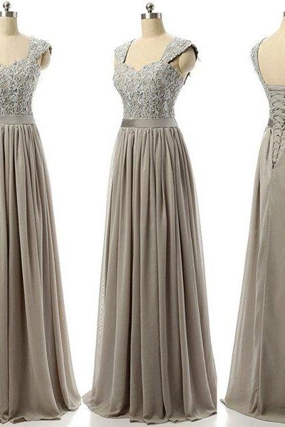 Grey bridesmaid dress,long bridesmaid dress,lace up bridesmaid dress,cheap bridesmaid dresse