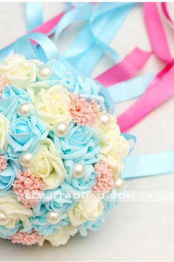 New Arrival Wedding Bouquet Handmade Flowers Sky Blue and Ivory Bridal Bouquet Wedding bouquets