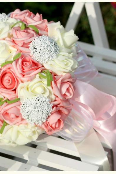 New Arrival Wedding Bouquet Handmade Flowers Pink and Ivory Bridal Bouquet Wedding bouquets