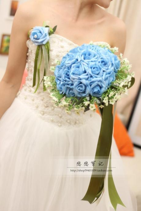 New Arrival Wedding Bouquet Handmade Flowers Blue Bridal Bouquet Wedding Bouquets