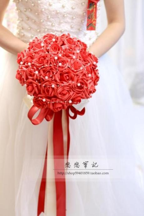 New Arrival Wedding Bouquet Handmade Flowers Red Bridal Bouquet Wedding bouquets
