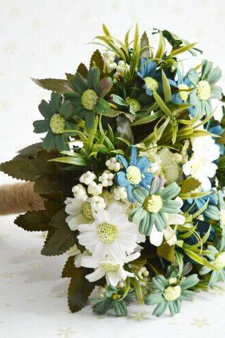 New Arrival Wedding Bouquet Handmade Flowers Blue Sunflower Bridal Bouquet Wedding bouquets