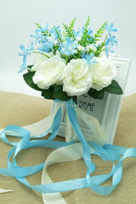 New Arrival Wedding Bouquet Handmade Flowers White with Blue Bridal Bouquet Wedding bouquets