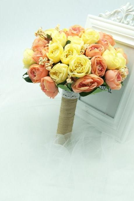 New Arrival Wedding Bouquet Handmade Flowers Yellow Peony Bridal Bouquet Wedding bouquets