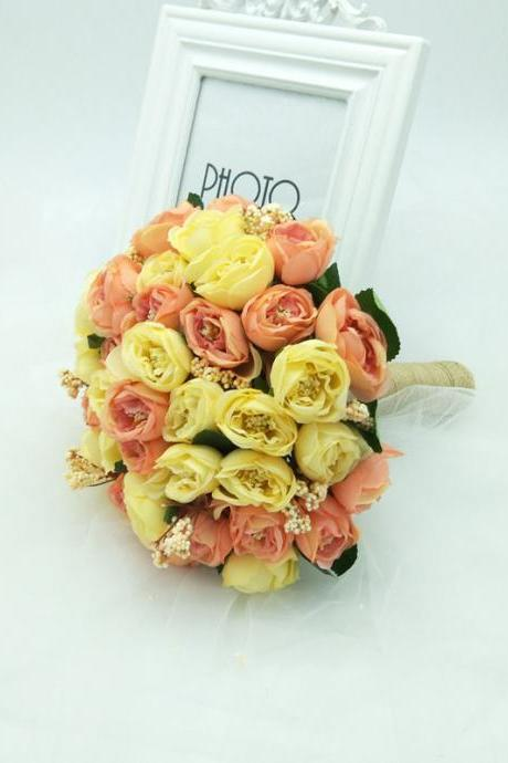 New Arrival Wedding Bouquet Handmade Flowers Yellow and Pink Bridal Bouquet Wedding Bouquets