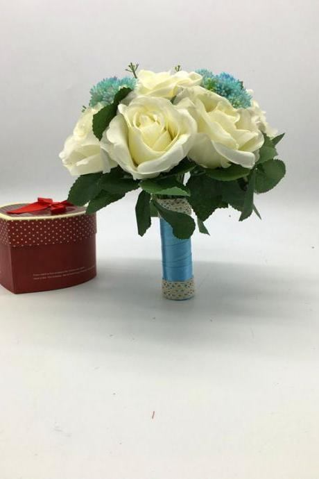 New Arrival Wedding Bouquet Handmade Flowers Ivory with Sky Blue Bridal Bouquet Wedding bouquets
