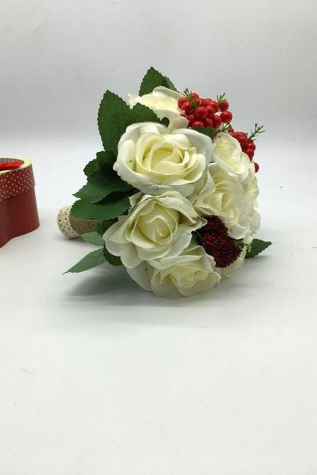 New Arrival Wedding Bouquet Handmade Flowers Ivory with Red Cherry Red Bridal Bouquet Wedding bouquets