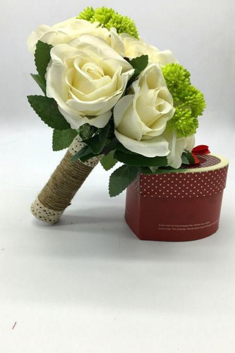 New Arrival Wedding Bouquet Handmade Flowers Ivory with Green Decoration Bridal Bouquet Wedding bouquets