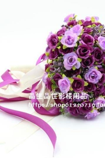 New Arrival Wedding Bouquet Handmade Flowers Purple Bridal Bouquet Wedding bouquets