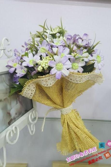 New Arrival Wedding Bouquet Handmade Flowers White and Lavendar Daisy Bridal Bouquet Wedding bouquets