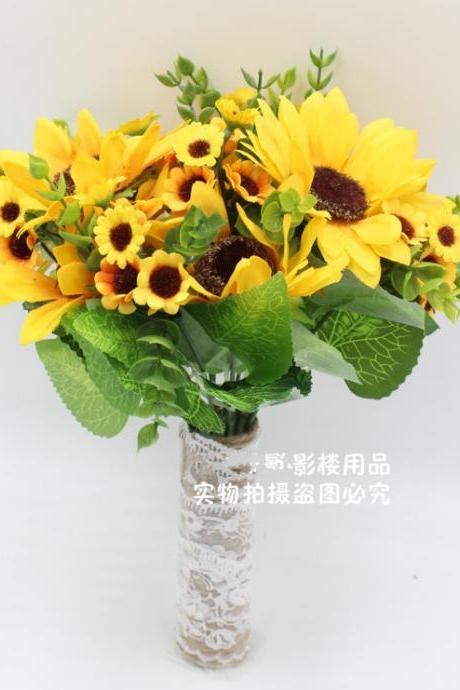 New Arrival Wedding Bouquet Handmade Flowers Yellow Sunflower Bridal Bouquet Wedding bouquets