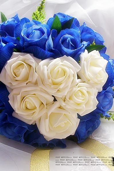 New Arrival Wedding Bouquet Handmade Flowers White and Blue Rose Wedding Flowers Bridal Bouquet Wedding bouquets