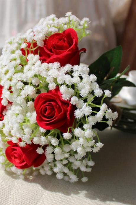 New Arrival Wedding Bouquet Handmade Flowers White Babysbreath and Red Rose Bridal Bouquet Wedding bouquets