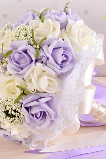 New Arrival Wedding Bouquet Handmade Flowers Ivory and Light Purple Rose with Pearls Bridal Bouquet Wedding bouquets
