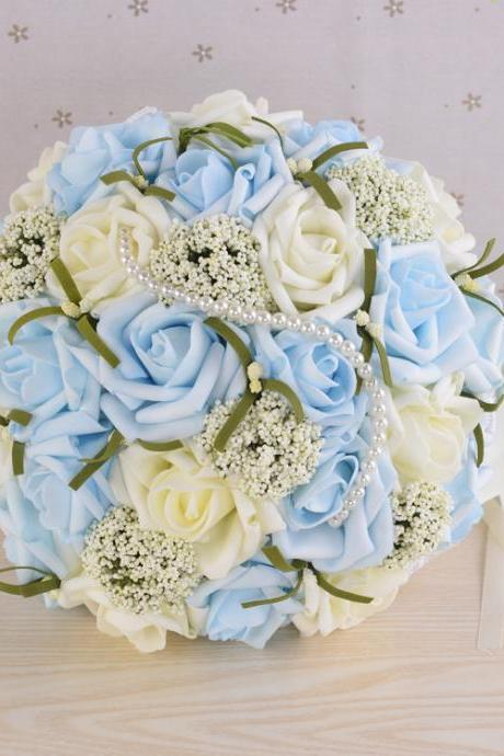New Arrival Wedding Bouquet Handmade Flowers Ivory and light Blue Rose with Pearls Bridal Bouquet Wedding bouquets
