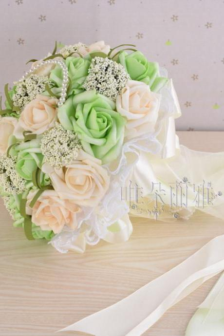 New Arrival Wedding Bouquet Handmade Flowers Ivory and Light Green Rose with Pearls Bridal Bouquet Wedding bouquets