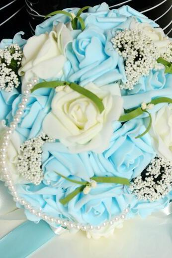 New Arrival Wedding Bouquet Handmade Flowers Sky Blue Tourquoise Rose Bridal Bouquet Wedding bouquets