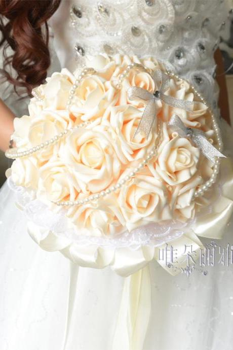 New Arrival Wedding Bouquet Handmade Flowers Ivory Rose Bridal Bouquet Wedding bouquets
