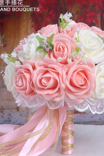 New Arrival Wedding Bouquet Handmade Flowers Light Pink Rose Bridal Bouquet Wedding bouquets