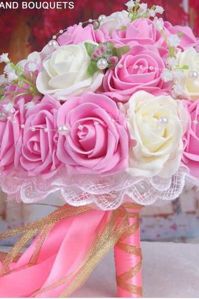 New Arrival Wedding Bouquet Handmade Flowers Pink Roses Bridal Bouquet Wedding bouquets