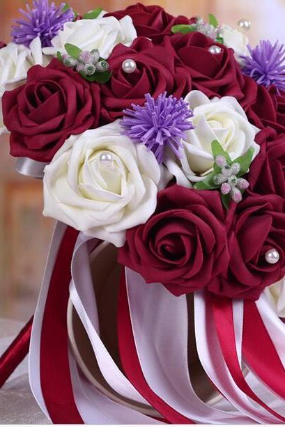 New Arrival Wedding Bouquet Handmade Flowers Burgundy Red Wine and White Rose Bridal Bouquet Wedding bouquets