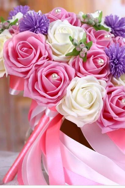 New Arrival Wedding Bouquet Handmade Flowers Pink and Ivory Rose Bridal Bouquet Wedding bouquets