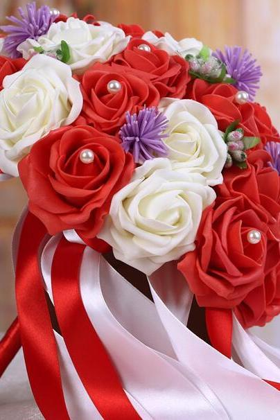New Arrival Wedding Bouquet Handmade Flowers Red and Ivory Rose Bridal Bouquet Wedding bouquets