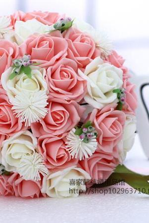 New Arrival Wedding Bouquet Handmade Flowers Pink and White Rose Bridal Bouquet Wedding bouquets