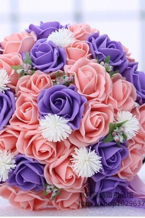 New Arrival Wedding Bouquet Handmade Flowers Pink and Purple and White Bridal Bouquet Wedding bouquets