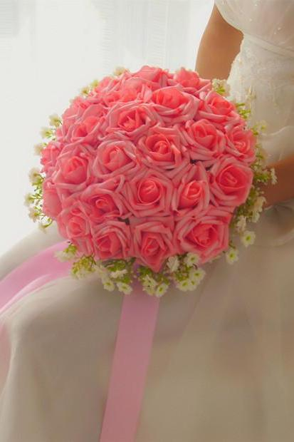 New Arrival Wedding Bouquet Handmade Flowers Pink Rose Bridal Bouquet Wedding bouquets