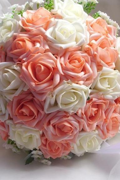 2017 Light Orange and Ivory Rose New Arrive Handmade Flowers Wedding Bouquets Rose Bridal Bridesmaid Bouquets Wedding Flowers