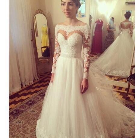 New Arrival Romantic Lace Ball Gown Wedding Dress With Long Sleeves White Zipper Back vestido de noiva sexy Custom Made