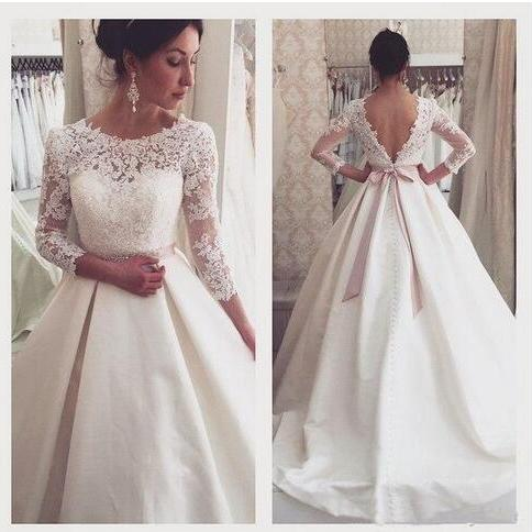 New Arrival Graceful Lace A Line Wedding Dresses 2018 Spring Jewel neck Bridal Gowns 3/4 Long Sleeves Backless Wedding Gowns Pink Sash