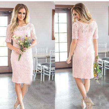 2018 New Simple Country Style Full Lace Mermaid Bridesmaid Dresses Elegant Crew Neck Half Sleeves Zipper Back Maid of Honor Gowns