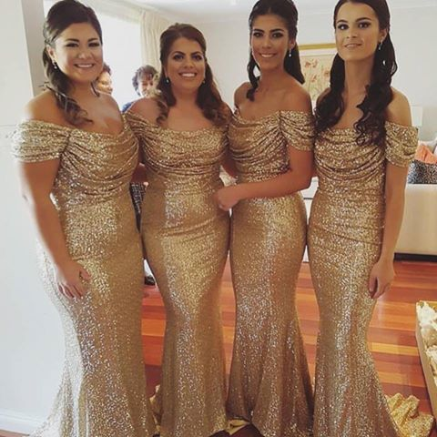 Gold Sequins Lace Mermaid Evening Dresses Off the Shoulder Sleeveless Prom Dresses Party Dress Formal Gowns Vestidos