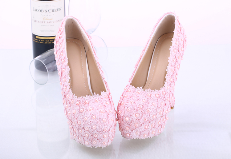 shoes light pink lace pearls wedding shoes